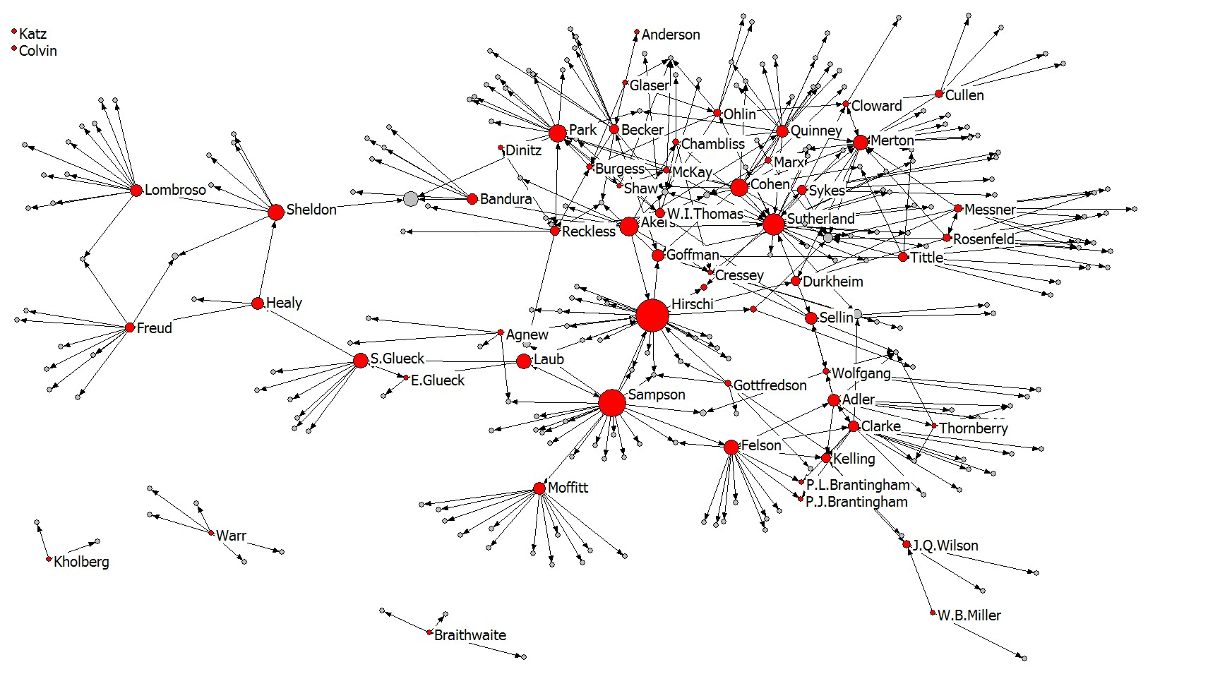 Network of Criminal Thought Betweenness Centrality